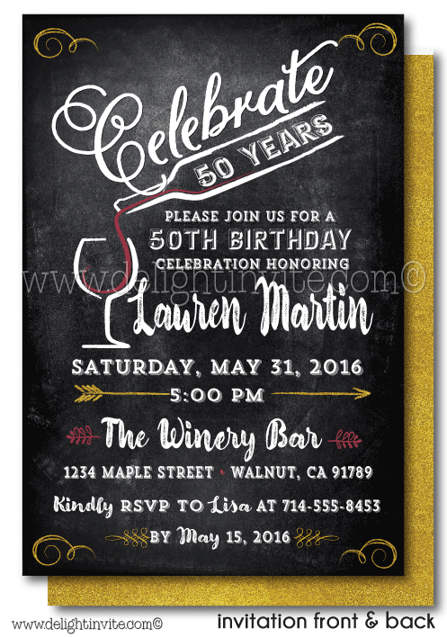 Vintage Wine 50th Birthday Invitations DI 439FC