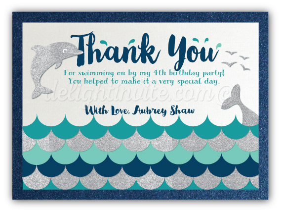 Swim Party Dolphin Birthday Favor Tags DI 626FT