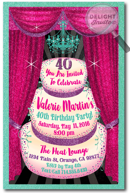 Glamorous 40th Birthday Party Invitation For Women 40th