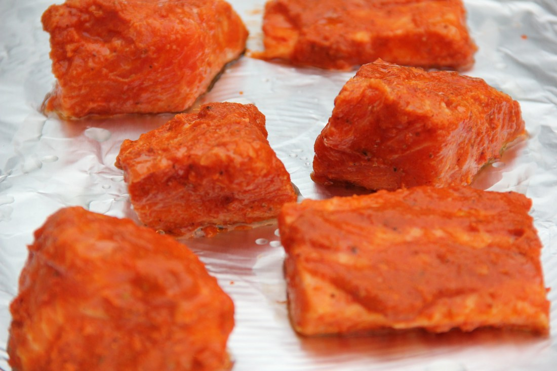Tandoori salmon - ready to be grilled