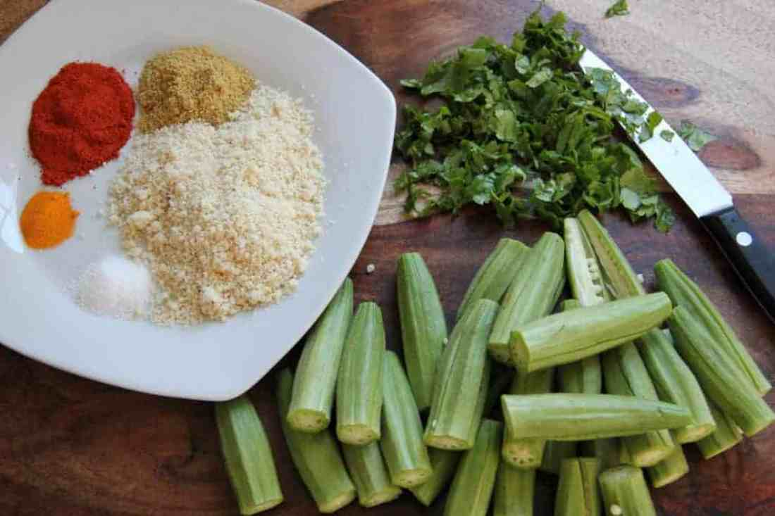 Stuffed okra - with stuffing ingredients
