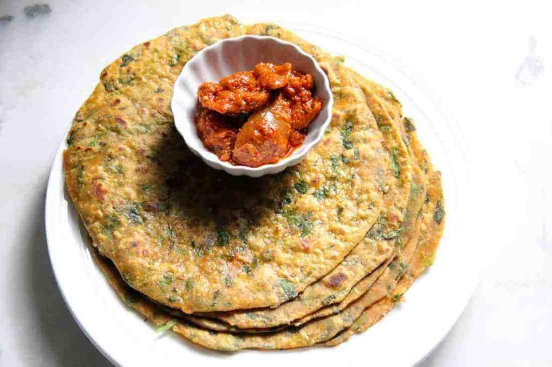 Methi/fenugreek-sweet potato Paratha {flatbreads}