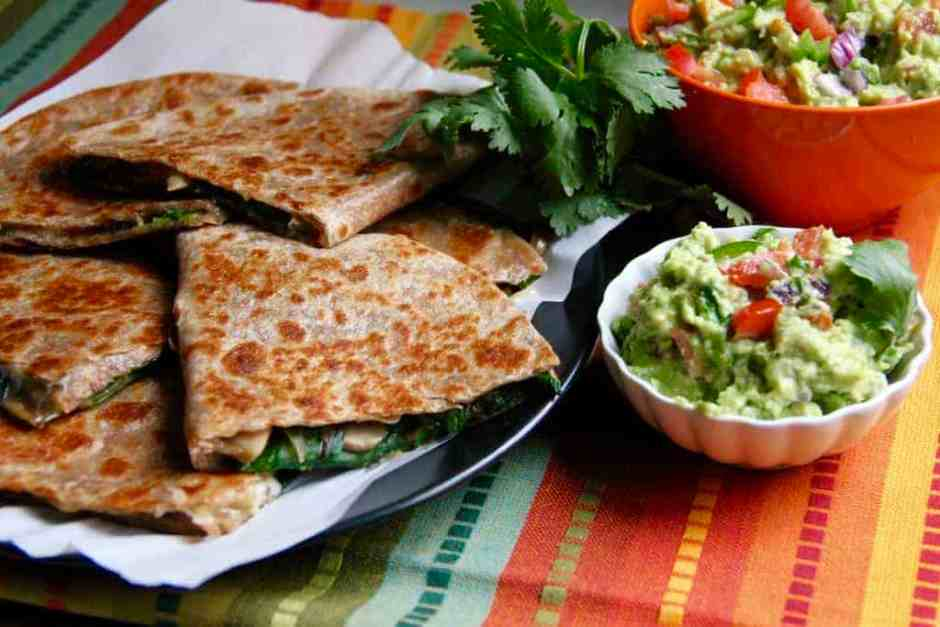 Spinach, Mushroom and Onion Quesadillas