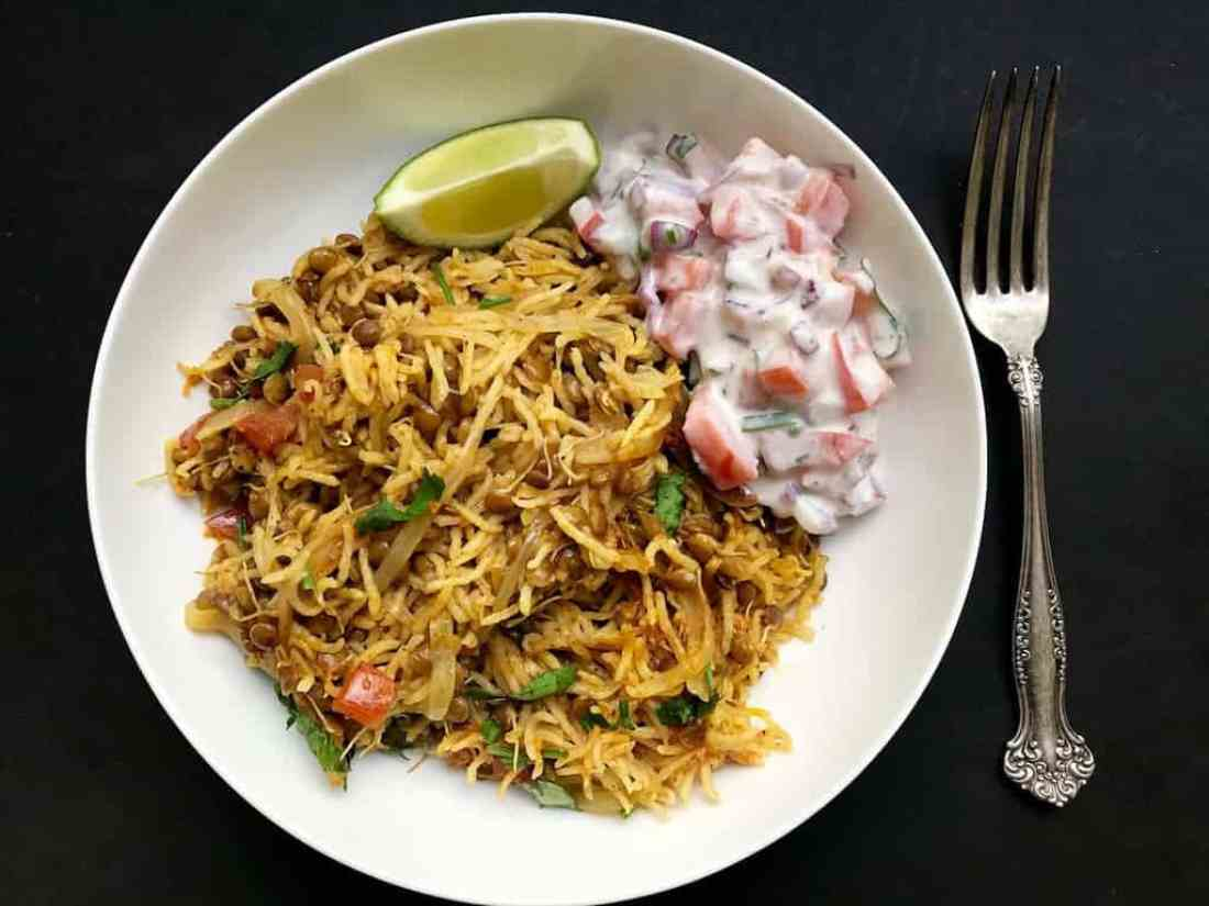 sprouted lentils khichdi