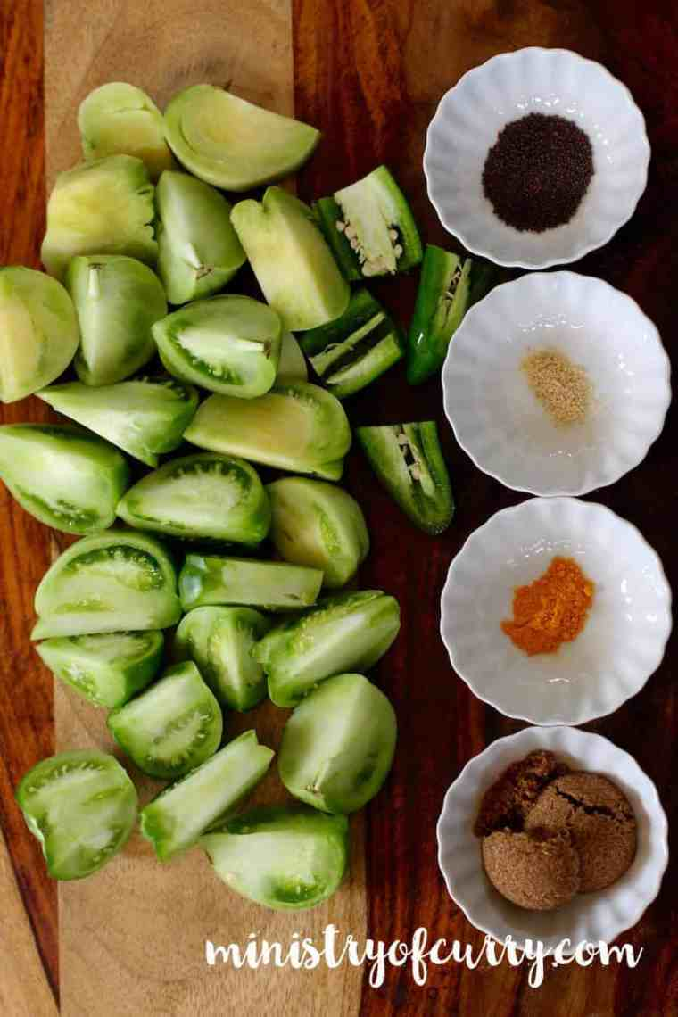 green tomato chutney ingredients