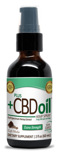 PlusCBD Cafe Mocha Spray covers the taste of hemp extract with a strong, rich chocolate-coffee flavor that's perfect for adding to drinks.