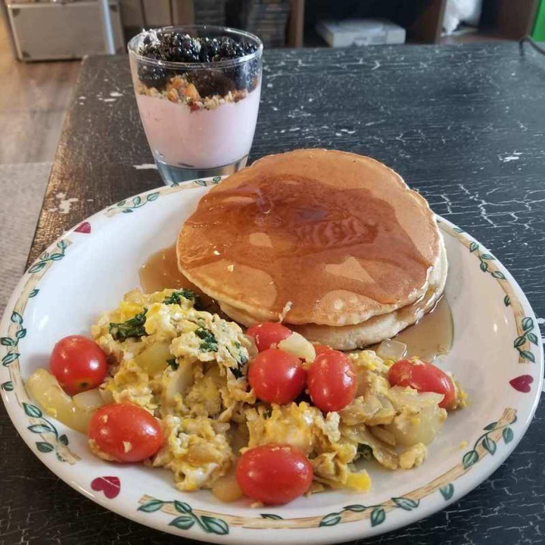We made a hemp breakfast: hemp heart yogurt parfait, pancakes with CBD maple syrup, and CBD-infused veggie egg scramble.