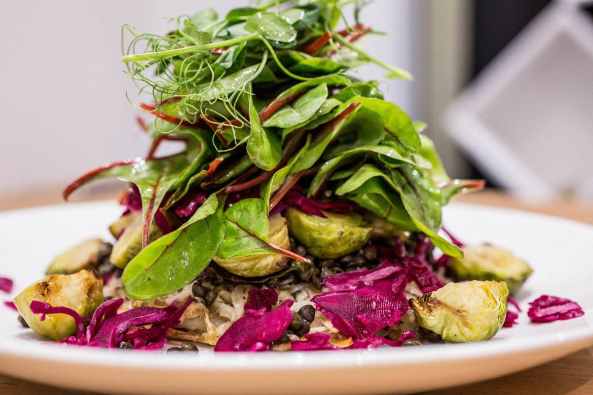 A dish of greens at The Canna Kitchen, the UK's first CBD restaurant. Hemp-based ingredients at the UK's CBD restaurant are source from crops grown organically in Spain and Switzerland.
