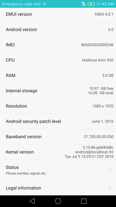 Huawei Honor 6 H60-L04 Marshmallow B860 EMUI 4.0.1 (Middle