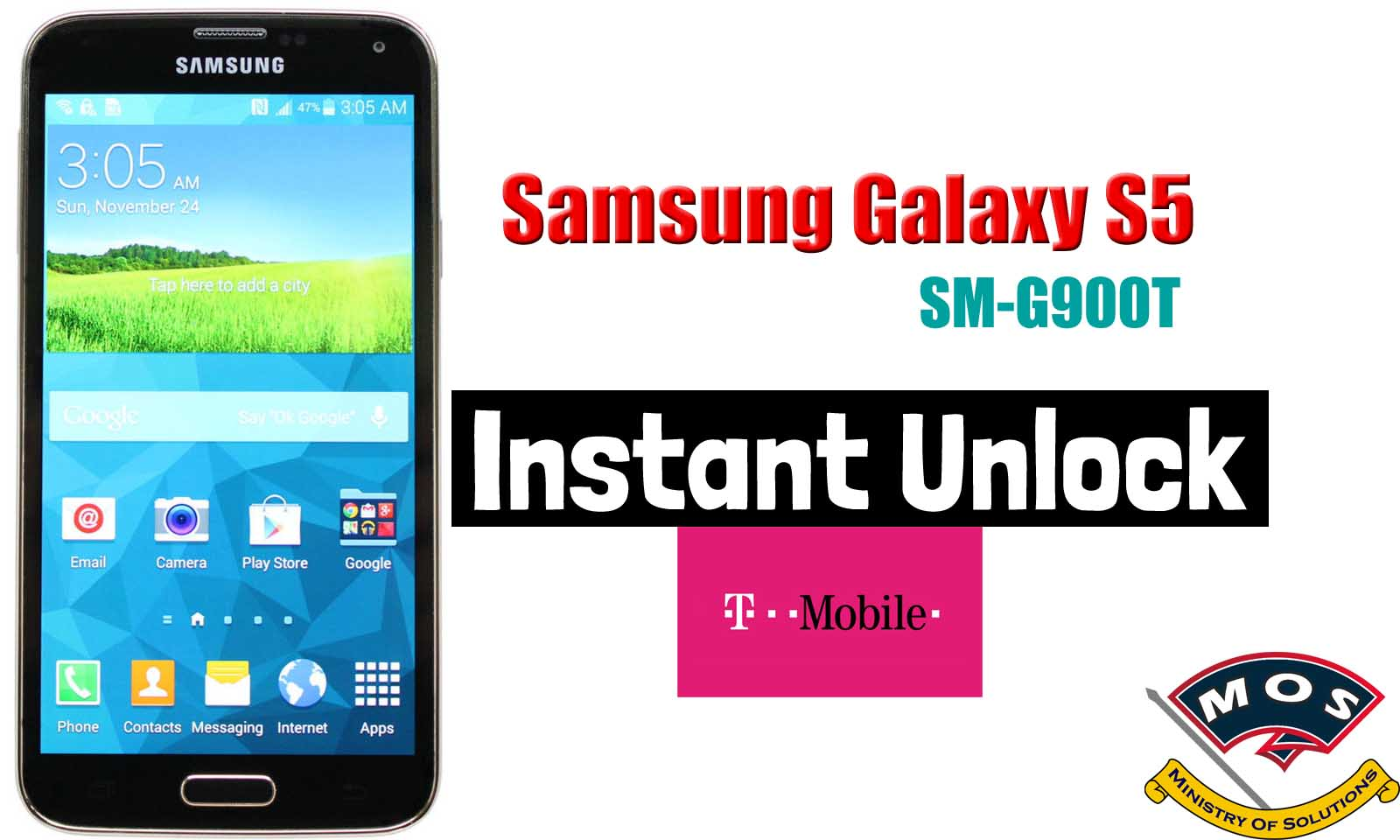 Samsung Galaxy S5 T-mobile SM-G900T Network Unlock (Instant