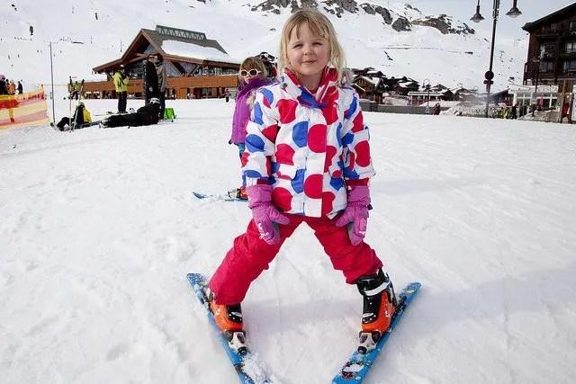 Kids skiiing on holiday