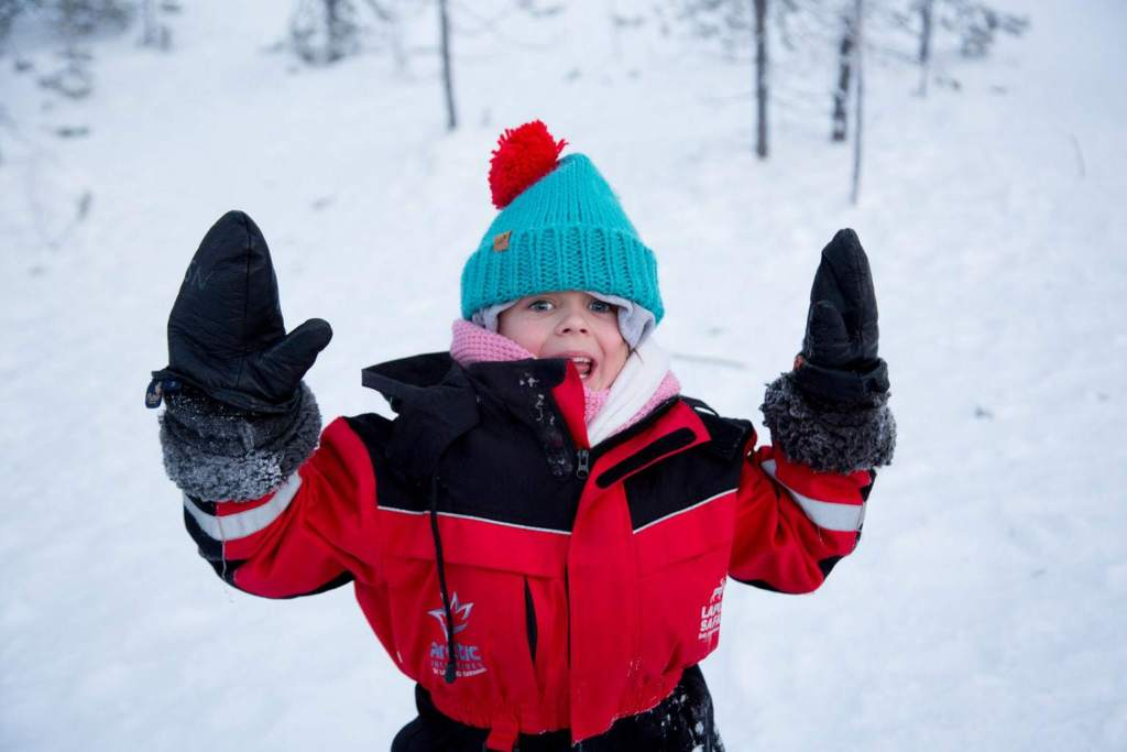 Playing in the snow at Santa's Lapland