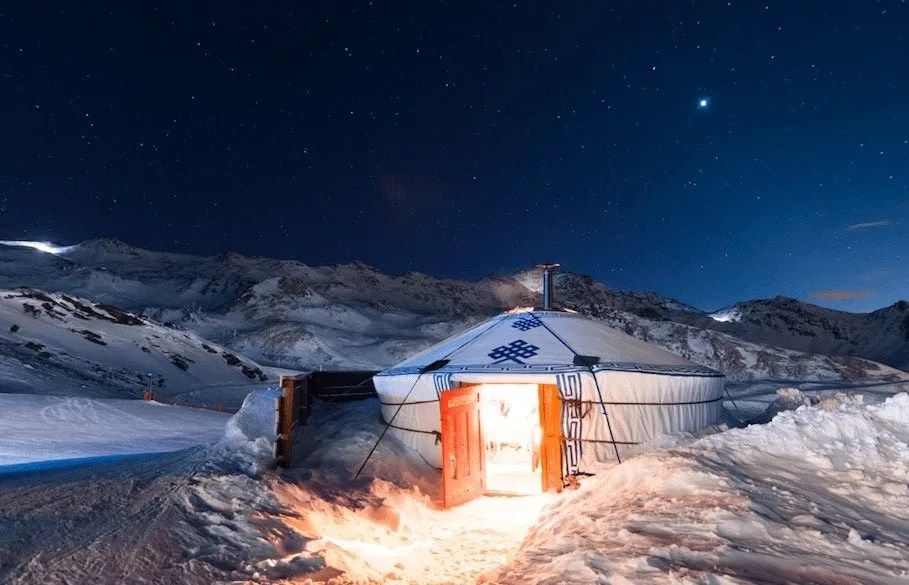 Dinner in a yurt, one of many Winter activity ideas for families