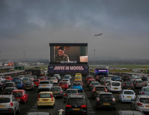Drive-in Movies at Edinburgh Airport - opening weekend - Sunshine on Leith credit Lloyd Smith