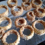 Baked onion rings before cooking