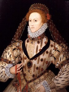 Elizabeth I with a pomander around her waist. Hers is gilded and studded with jewels!