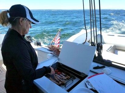 73017 cookin bacon on sailto sag harbor