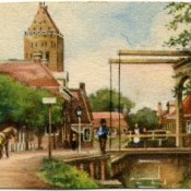 Aquarel dorpsgezicht 1930 in het klein