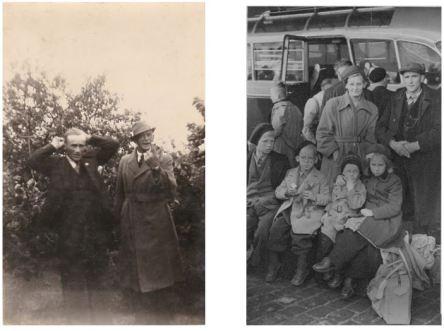 Foto links: Jan Heeringe en Gijsbert D. Boomsma (22-05-1941). Foto rechts: gezin Jan Heeringa,voor vlnr: Jan, Dirk, Harmen en Tjerkje. Achter vader en moeder Attje en Jan.