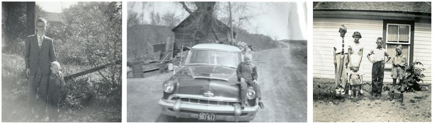 Foto links: John en Gilbert. Midden: Gilbert op Buick van zijn vader. Foto rechts: John, Shirley, Gilbert, Richard en Harry.