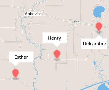 Map of three Louisiana towns: Esther, Henry and Delcambre