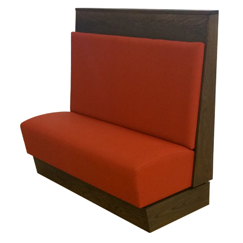 booths with interchangeable cushions, the Osakis booth with a long back cushion and fashionable drop seat