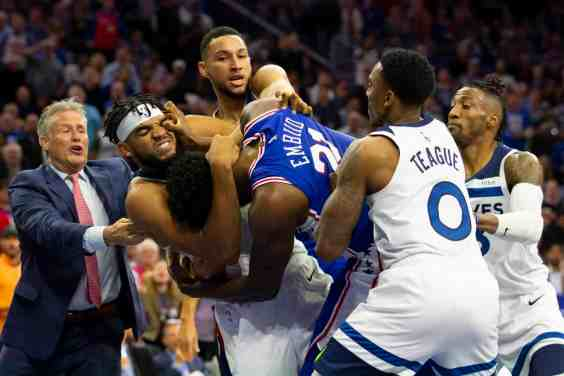 Towns and Embiid Drop Gloves on Court; Both Get Tossed