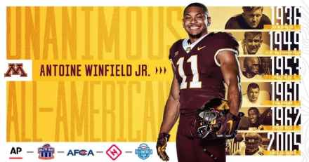 Antoine Winfield Jr Named Unanimous 1st Team All-American; 7th in Gopher Football History