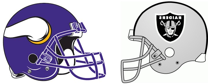 Vikings and Raiders logos facing off