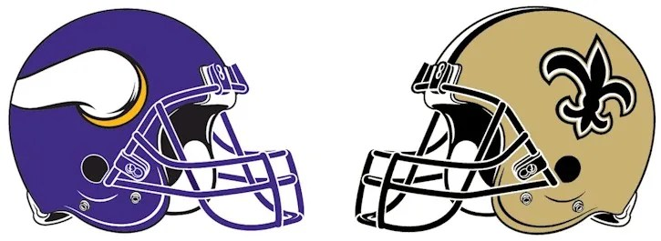 Vikings & Saints Helmets Facing Off