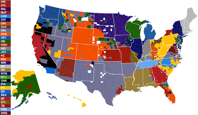 Map - NFL Fans By County