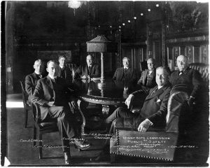 """The Minnesota Commission of Public Safety was formed by the Legislature after the U.S. entered World War I. Chaired and appointed by Gov. Joseph A. A. Burnquist (fourth from left), the commission suspended civil liberties, demonized foreigners and censored newspapers during a three-year-long, politically motivated crackdown on anyone it considered """"disloyal."""""""