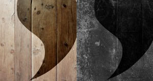 apostrophe abstract on wooden panels