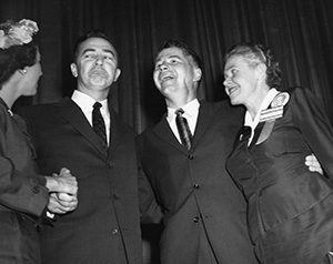 Eugenie Anderson (right) with Gov. Orville Freeman (center) and Eugene McCarthy, her 1958 opponent for Senate. Party insiders gave the DFL nomination to McCarthy, even though he polled worse than Anderson against the Republican incumbent. (Submitted image: Minnesota Historical Society)