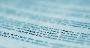 Macro shot of a printed text