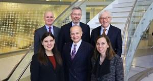 Front, left to right: Heather McElroy, Michael V. Ciresi, Katie Crosby Lehmann. Back, left to right: Daniel L. Scott, Richard B. Allyn, Byron E. Starns.