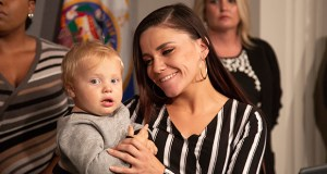 Amanda Weber holds her toddler son, Zayvion, after a press conference Tuesday. The boy was placed in protective custody for more than three months after Morrison County officials alleged that she had medically neglected her son. A judge later determined the allegations were unfounded. (Staff photo: Kevin Featherly)