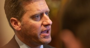 House Minority Leader Kurt Daudt, R-Crown, got the 2019 session off with a bang Tuesday by stridently arguing that the DFL House majority's committee structure concentrates too much power at Ways and Means and makes it all but impossible for the public to track legislation. (Staff photo: Kevin Featherly)