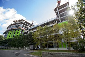 United Properties' Nordic mixed-use project at 729 N. Washington Ave., shown under construction in October in Minneapolis' North Loop, will have WeWork leasing 60,000 square feet of space when it opens. (File photo: Craig Lassig)