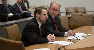 Matt Ehling of the Minnesota Coalition on Government Information (left) testifies for the Senate's data practice omnibus bill on March 29. The bill's author, Senate Judiciary committee chair Warren Limmer, R-Maple Grove, looks on. (Staff photo: Kevin Featherly)