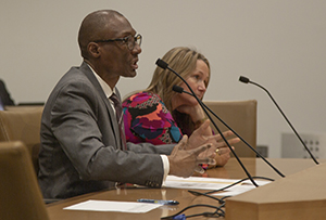 Sen. Bobby Joe Champion, DFL-Minneapolis (left), testifies on March 29 for his bill to make it easier for parents to reclaim lost parental rights. Beside him is Gina Evans outreach director at Minnesota Adult and Teen Challenge, who supported the bill. (Staff photo: Kevin Featherly)