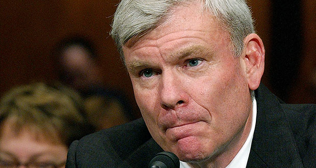 In this March 2005 photo, Judge Terrence Boyle appears before the Senate Judiciary Committee on Capitol Hill in Washington D.C. A federal appeals court is being asked to decide whether five men convicted in a North Carolina dogfighting case deserve new sentencing hearings because of their sentencing judge's harsh words from the bench. (AP file photo)