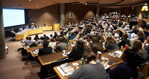 A panel of historians discussed U.S. immigration policy at a Nov. 1 forum sponsored by the James H. Binger Center for New Americans at the University of Minnesota Law School. (Photo: Tony Nelson)