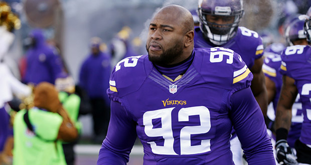 Minnesota Vikings defensive tackle Tom Johnson is introduced before an NFL football game Jan. 10, 2016, against the Seattle Seahawks in Minneapolis. (AP file photo: Jim Mone)