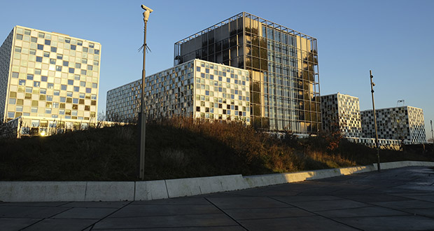 Exterior view of the International Criminal Court, or ICC, in The Hague, Netherlands, Wednesday Dec. 4, 2019. (AP Photo/Mike Corder)