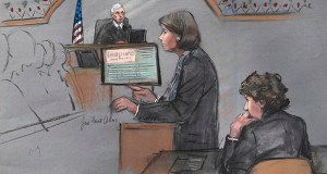 In this courtroom sketch, defense attorney Judy Clarke is depicted addressing the jury as Boston Marathon bombing defendant Dzhokhar Tsarnaev, right, sits during closing arguments in Tsarnaev's federal trial April 6, 2015, in Boston. Recently, a federal appellate court heard Tsarnaev's appeal, based partially on the allegation that two jurors made false claims about their pretrial communication about the incident. (Jane Flavell Collins via AP)