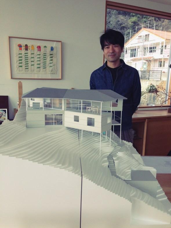 Shimada san and his model of the X-House