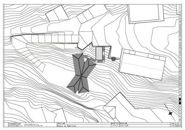 The layout and contours of the site from above.
