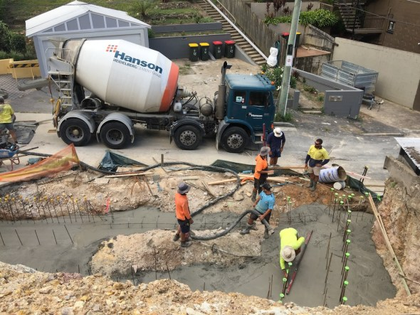 Pouring the footings for the garage.