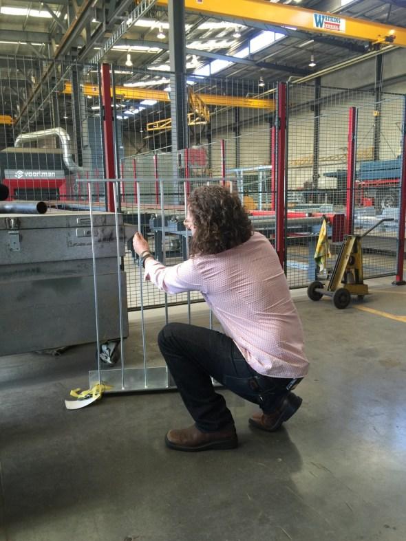 Paul Hotson testing the flex in the balustrade mockup.